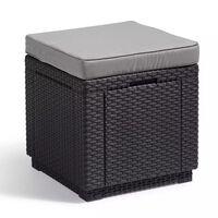 Allibert Cube taburet za shranjevanje grafitne barve 213785