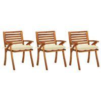 vidaXL Vrtni jedilni stoli z blazinami 3 kosi trden akacijev les