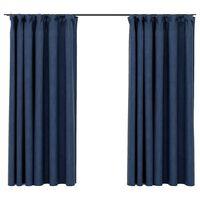 vidaXL Zatemnitvene zavese z obešali 2 kosa modre 140x175 cm