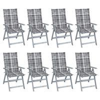 vidaXL Vrtni nastavljivi stoli z blazinami 8 kosov sivi akacijev les