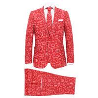 vidaXL Moška božična obleka s kravato velikost 48 rdeča z darili