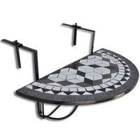 vidaXL Viseča balkonska mizica črna in bela mozaik