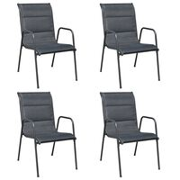 vidaXL Stackable Garden Chairs 4 pcs Steel and Textilene Black