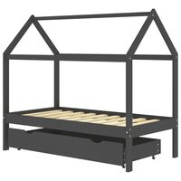 vidaXL Otroški posteljni okvir s predalom temno siv 80x160 cm