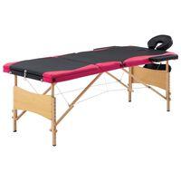 vidaXL Zložljiva masažna miza 3-conska les črna in roza