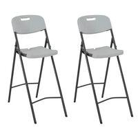 vidaXL Zložljivi barski stoli 2 kosa HDPE in jeklo bele barve