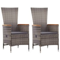 vidaXL Zunanji stoli 2 kosa z blazinami poli ratan sive barve