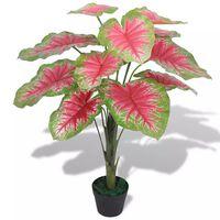 vidaXL Umetna rastlina kaladija v loncu 70 cm zelena in rdeča