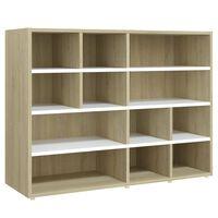 vidaXL Side Cabinet White and Sonoma Oak 97x32x72 cm Chipboard