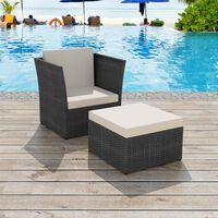 vidaXL Vrtni stol in stolček poli ratan črne barve
