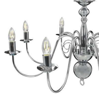 vidaXL Lestenec srebrn 8 x E14 žarnice