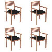 vidaXL Vrtni stoli 4 kosi s črnimi blazinami trdna tikovina