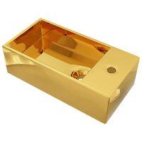 vidaXL Umivalnik z odprtino za odtekanje 49x25x15 cm keramičen zlat