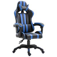 vidaXL Gaming stol modro umetno usnje