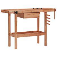 vidaXL Mizarska delovna miza s predalom in 2 premežema trd les
