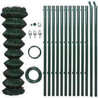 vidaXL Mrežna ograja s stebrički pocinkano jeklo 1x15 m zelena