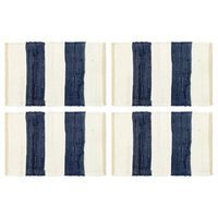 vidaXL Pogrinjki 4 kosi Chindi črte modri in beli 30x45 cm