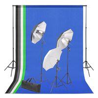 vidaXL Komplet za fotografski studio z ozadjem in kompletom luči