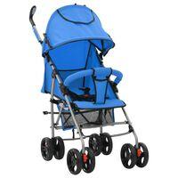 vidaXL Zložljiv otroški voziček 2 v 1 moder jeklen