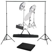 vidaXL Fotografski studijski komplet s svetilkami in ozadjem