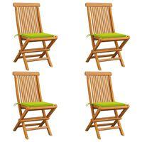 vidaXL Vrtni stoli z živo zelenimi blazinami 4 kosi trdna tikovina