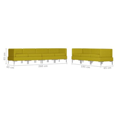 vidaXL Sedežna garnitura 7-delna blago rumena