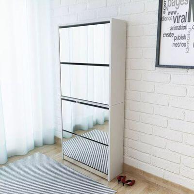 vidaXL Omarica za čevlje 4-nadstropna z ogledali bela 63x17x134 cm