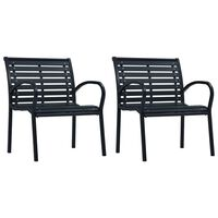 vidaXL Vrtni stoli 2 kosa črno jeklo in WPC