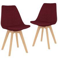 vidaXL Jedilni stoli 2 kosa vinsko rdeče blago