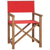 vidaXL Režiserski stol trdna tikovina rdeč