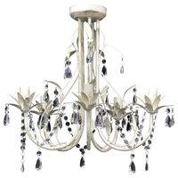 Elegantni Kristalni Viseči Lestenec Bele barve 5 Žarnic