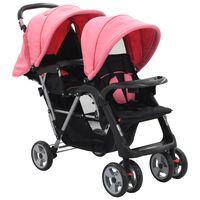 vidaXL Dvojni otroški voziček jeklen roza in črn