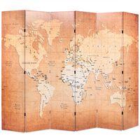 vidaXL Zložljiv paravan 228x170 cm zemljevid sveta rumen