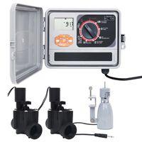 vidaXL Upravljalnik za zalivanje s senzorjem za dež in ventilom