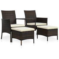 vidaXL Vrtni kavč dvosed z mizico in stolčki poli ratan rjav