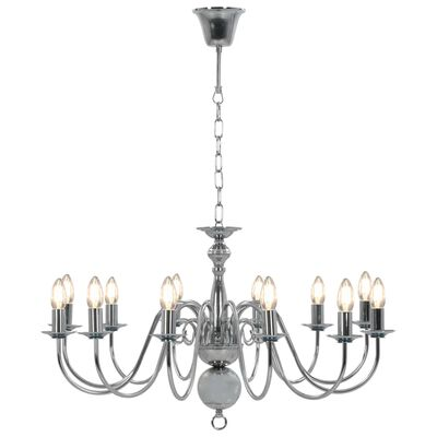 vidaXL Lestenec srebrn 12 x E14 žarnice
