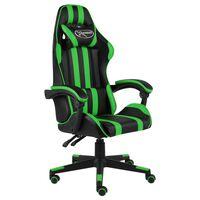 vidaXL Racing stol črno in zeleno umetno usnje