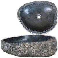 vidaXL Umivalnik iz rečnega kamna ovalen 46-52 cm