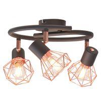 vidaXL Stropna svetilka s 3 reflektorji E14 črne in bakrene barve