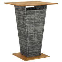 vidaXL Barska miza siva 80x80x110 cm poli ratan in trden akacijev les
