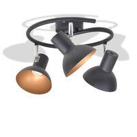 vidaXL Stropna svetilka za 3 žarnice E27 črne in zlate barve