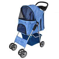 vidaXL Voziček za psa modre barve