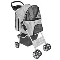 vidaXL Zložljiv voziček za pse/mačke potovalni transporter siv