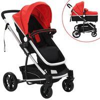 vidaXL 2-v-1 Otroški Voziček Aluminij Rdeče in Črne Barve