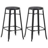 vidaXL Barski stolčki 2 kosa črno jeklo