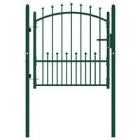 vidaXL Vrata za ograjo s konicami jeklo 100x100 cm zelena