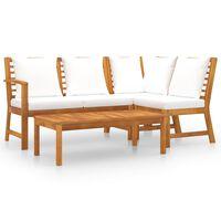 vidaXL Vrtna sedežna garnitura z blazinami 4-delna krem akacijev les