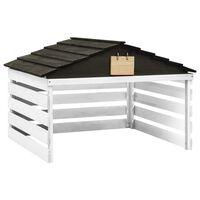 vidaXL Garaža za robotsko kosilnico črna in bela 78x74x54 cm lesena