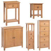 vidaXL 5-delni komplet pohištva za dnevno sobo trden hrastov les