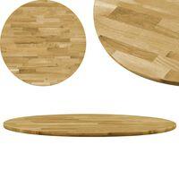 vidaXL Površina za mizo trden hrastov les okrogla 23 mm 700 mm